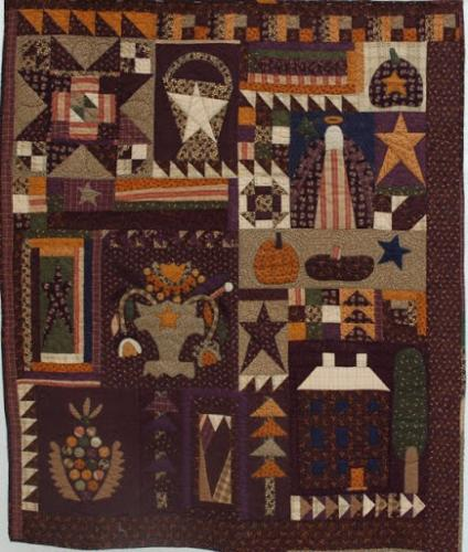 Halloween block quilt by Lisa Price, custom quilted by Isabel Hall